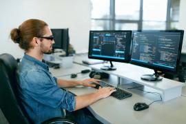 Programming. Man Working On Computer<span id=